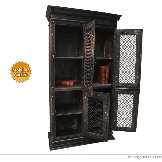 armoire d atelier industriel fin xix me. Black Bedroom Furniture Sets. Home Design Ideas