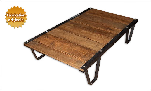Table basse style industriel for Table salon bois et fer
